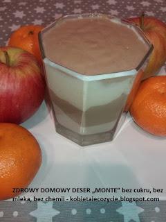 """ZDROWY DOMOWY DESER """"MONTE"""" bez cukru, bez mleka, bez chemii; Monte domowy; zdrowy deser; deser dla dzieci;"""
