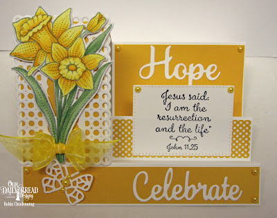 Our Daily Bread Designs Stamp Set: Daffodils,Paper Collections: Plum Pizzazz, Custom Dies: Daffodil, Side Step Card, Circle Scallop Rectangles, Bitty Butterflies, Pierced Rectangles, Faith, Hope, Love, Celebrate and Wish