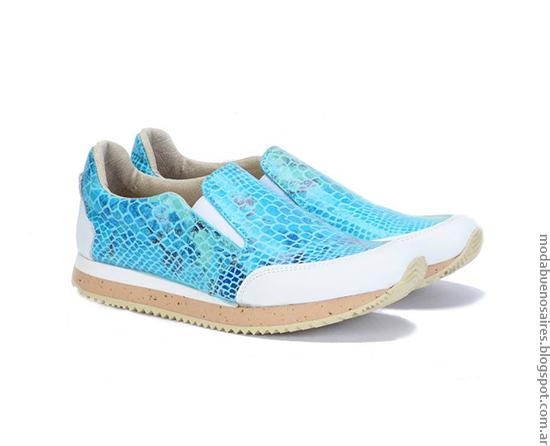 Moda verano 2017 mujer Pamuk zapatillas reptil aqua. Moda primavera verano 2017 zapatillas y borcegos de colores.