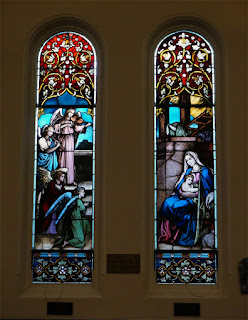 Lancet windows with Tiffany Stained Glass depicting the Magi's visit to baby Jesus