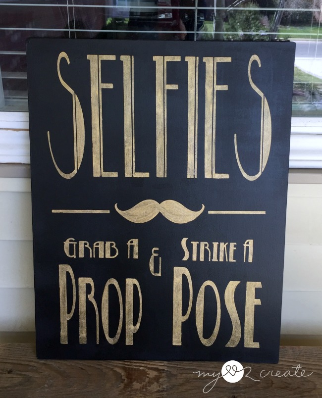 Selfie sign with gold and glitter paint, grab a prop and strike a pose, without border
