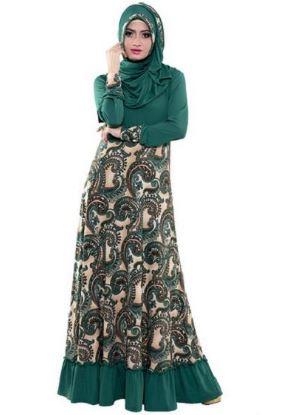 Gamis kombinasi rok batik untuk remaja muda