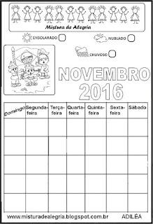 Calendário novembro 2016 colorir