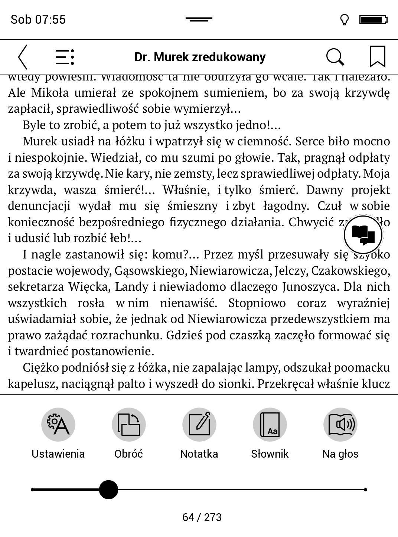menu główne e-booka w PocketBook TouchHD2