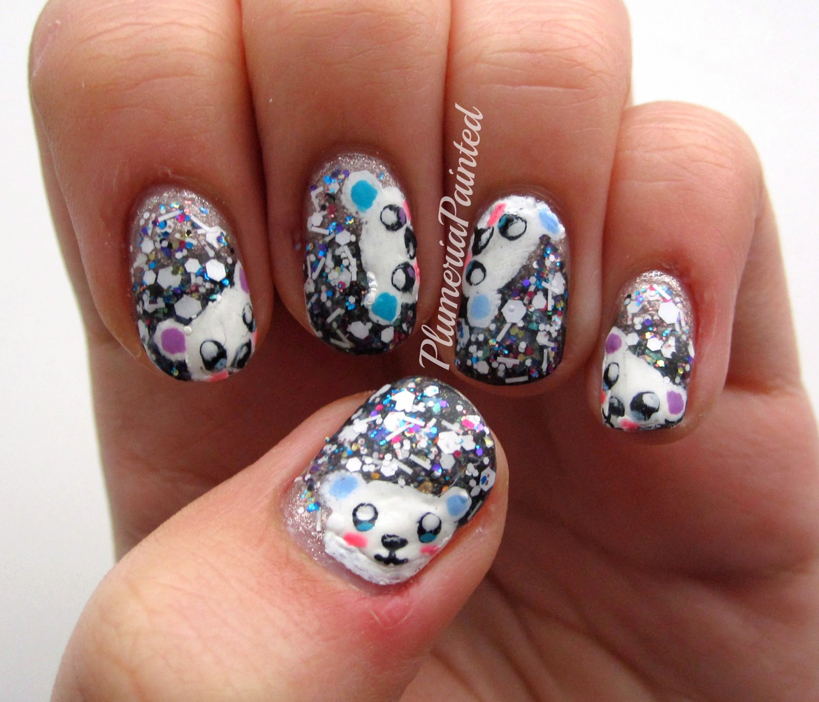 plumeriapainted party polar bear nails. Black Bedroom Furniture Sets. Home Design Ideas
