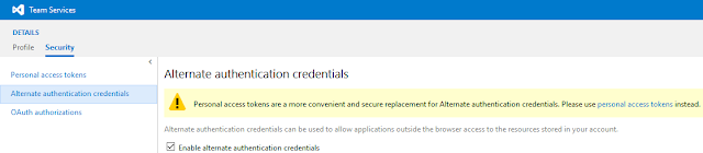 vsts security - alternate authentication credentials