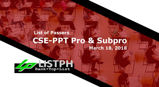 List of Passers for March 18, 2018 CSE-PPT Professional and Subprofessional Levels
