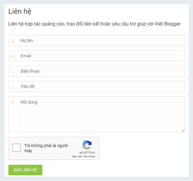 Hướng dẫn tạo trang Liên hệ cho Blog với Form Google tùy chỉnh tích hợp reCAPTCHA v2