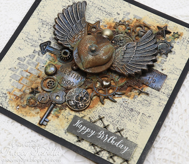 Steampunk Birthday Card by Tracey Sabella for Scrap & Craft: https://bit.ly/2J2Izda #steampunk #steampunkcard #mixedmedia #mixedmediaart #birthdaycard #masculinecard #mixedmediacard #studio75 #gears #finnabair #finnabairproducts #primamarketing #rustpaste