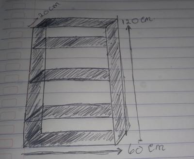 desain rak buku sederhana dari kayu bekas