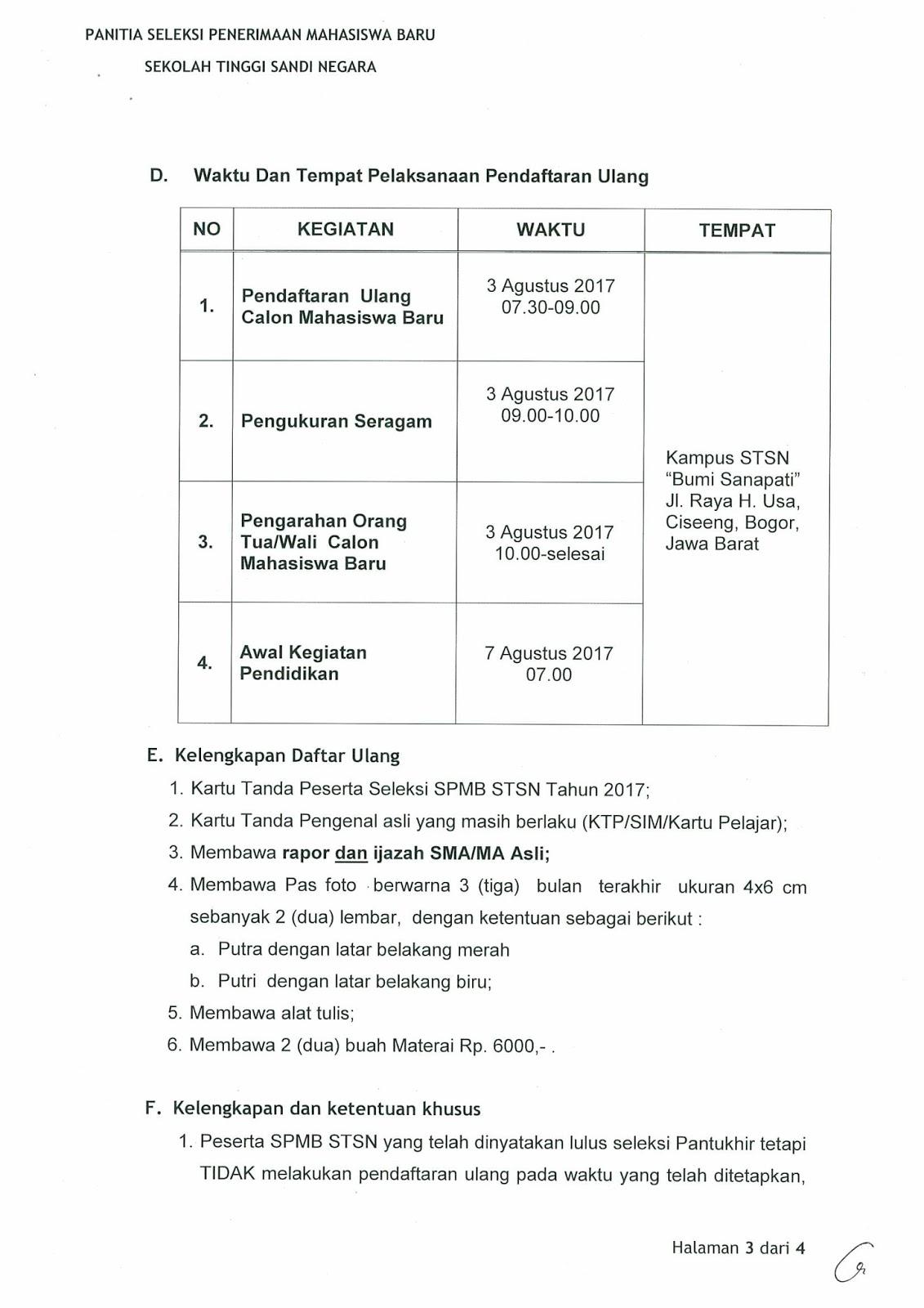jadwal daftar ulang STSN