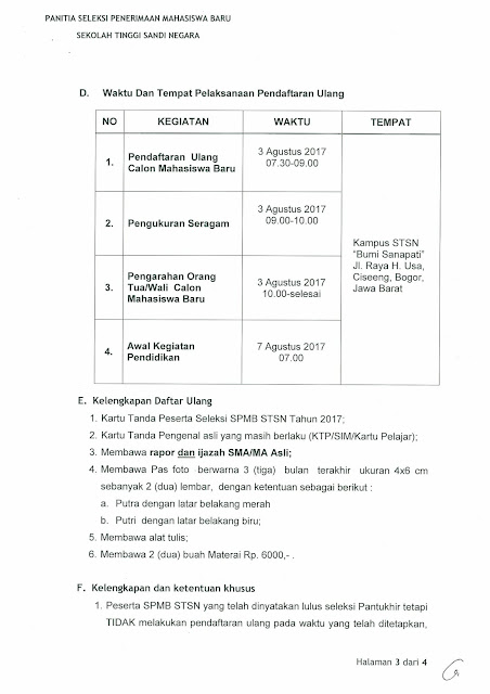 jadwal daftar ulang stsn 2017