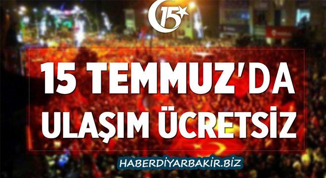 Diyarbakır'da 15 Temmuz'da ulaşım ücretsiz
