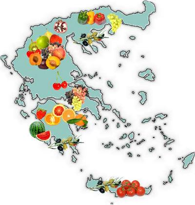 Греция карта фруктов