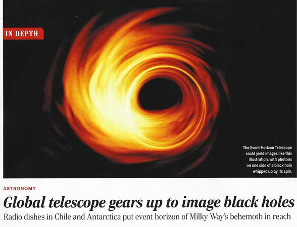 Event Horizon Telescope schedules black hole observation (Source: Science, March 3, 2017)