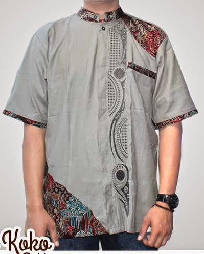 Baju koko pria kombinasi batik modern