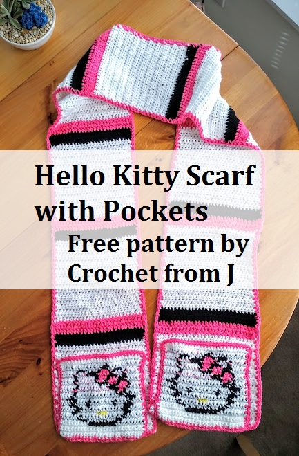 Crochet From J Hello Kitty Scarf With Pockets