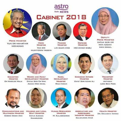 Senarai Menteri Kabinet Malaysia 2018 - Pakatan Harapan, PRU14, Perdana Menteri Malaysia Ke -7, Tun Dr Mahathir Mohamad, Kerajaan Malaysia 2018, List, Politik Malaysia, Terkini, Info Berguna,