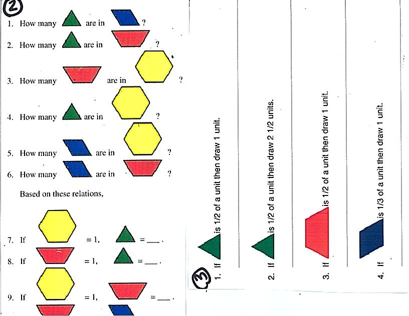 Fractions With Pattern Blocks Worksheets