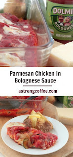 easy to make midweek meal, paremesan chicken in bolognese sauce