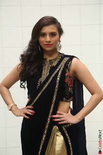 Priyanka Ramana in Beautiful Designer Black Saree At We Craft Elegance Expo Launch 033.JPG