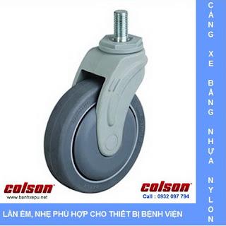 Bánh xe đẩy cao su càng nhựa trục ren chịu tải (70~100kg) banhxepu.net