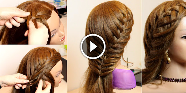 How To Create Lace Waterfall Braid Hairstyle, See Tutorial