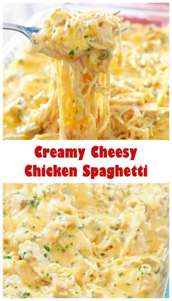 Creamy Cheesy Chicken Spaghetti #Creamy #Cheesy #Chicken #Spaghetti#CreamyCheesyChickenSpaghetti