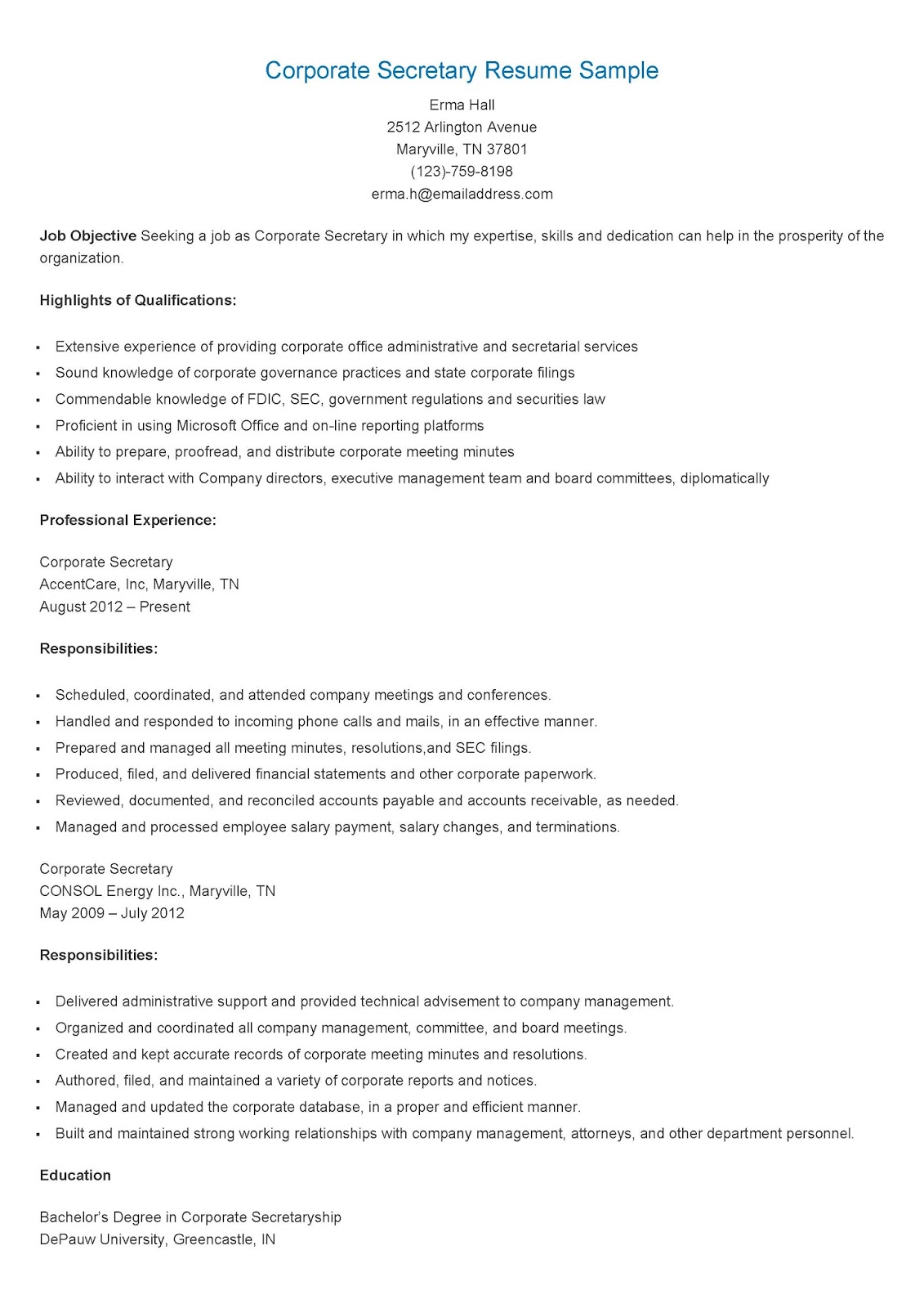 resume samples  corporate secretary resume sample