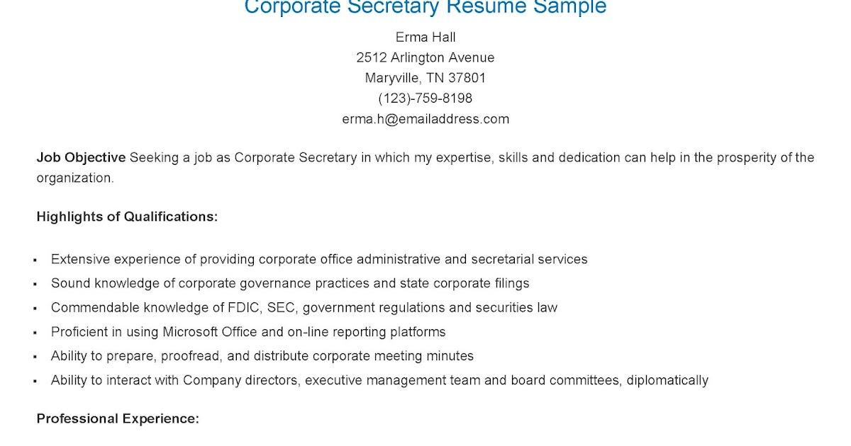 resume samples corporate secretary resume sample