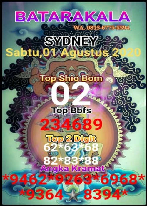 Kode syair Sydney Sabtu 1 Agustus 2020 18