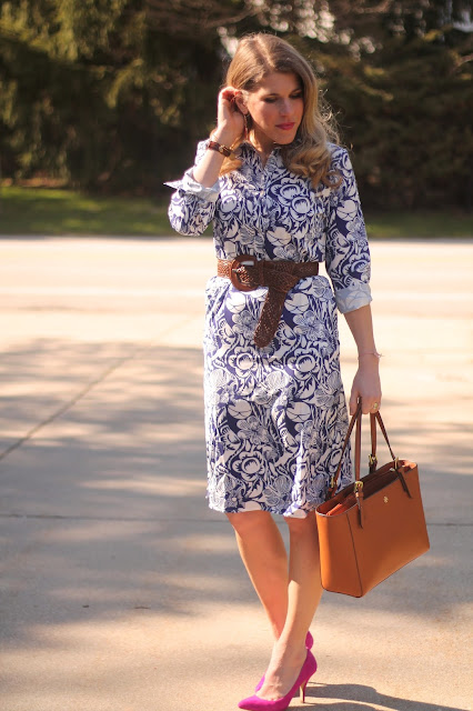 blue floral shirtdress, pink heels, woven belt, Tory Burch tote, spring dress