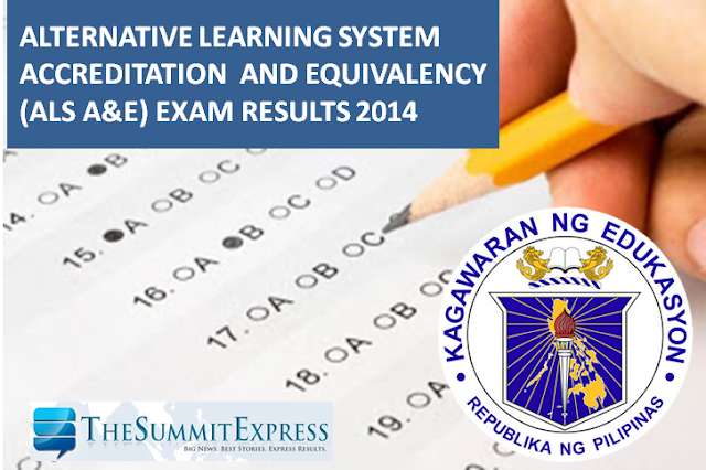 DepEd releases 2014-2015 ALS A&E exam results