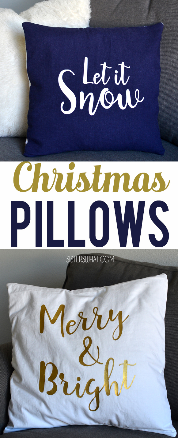 Diy Christmas Pillows using heat transfer vinyl and cutting machine