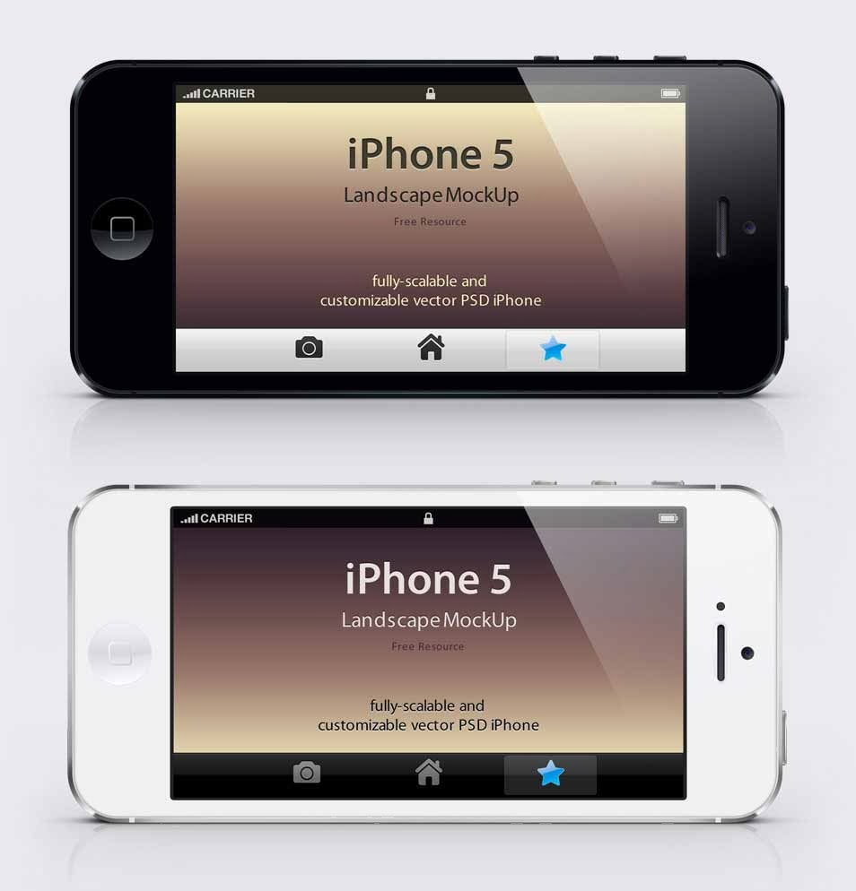 iPhone 5 Black & White Mockup