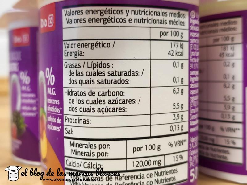 Información nutricional del yogur desnatado edulcorado con frutas Dia en el blog de las marcas blancas.