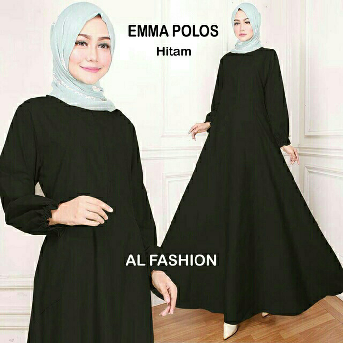 Gamis Maxi Hitam Polos Emma Kekinian Terbaru Baju Muslim Gamis
