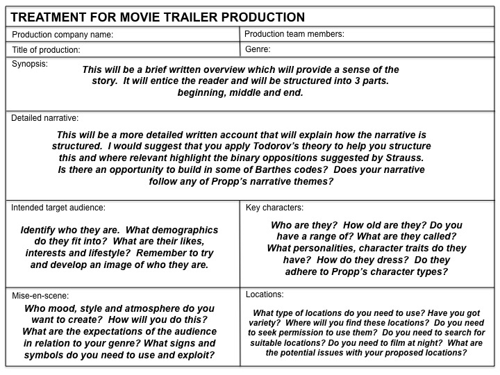 Plantsbrook School Centre No 20311 A2 Media Studies Developing a - film treatment template