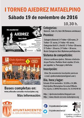 Cartel I Torneo Ajedrez Mataelpino
