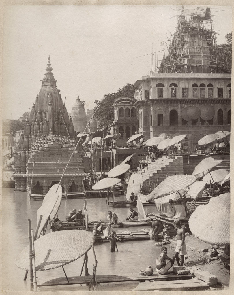 Bathing Ghats and Temples in Benares (Varanasi) - c1880's