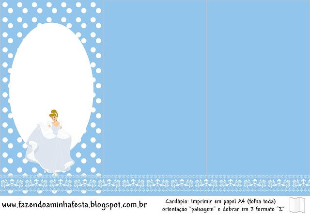 Cinderella Birthday Party, menu, program or card