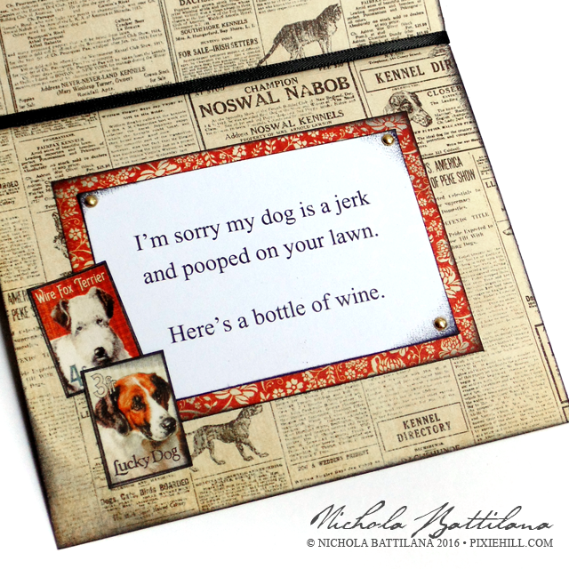 """Sorry my dog pooped on your lawn"" card w/ Raining Cats and Dogs from Graphic 45 - Nichola Battilana"