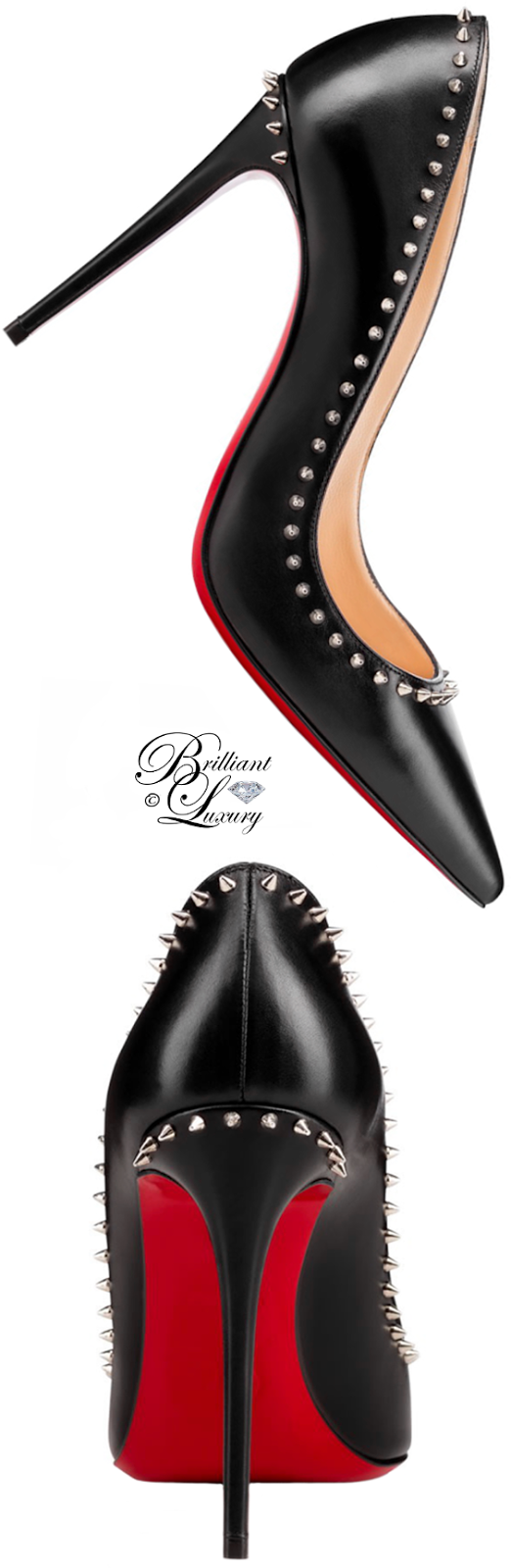 Brilliant Luxury ♦ Christian Louboutin Anjalina Studded Patent-Leather Red Sole Pump