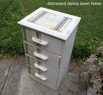 painted furniture, Mod Podge, grain sack label, distressed dresser. makeover