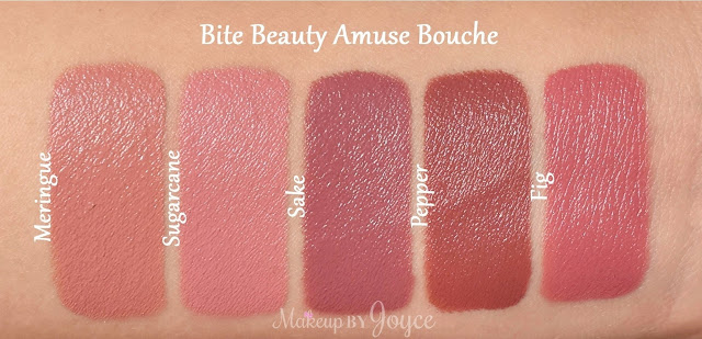 Bite Beauty Meringue Fig Sake Pepper Sugarcane Lipstick Swatches