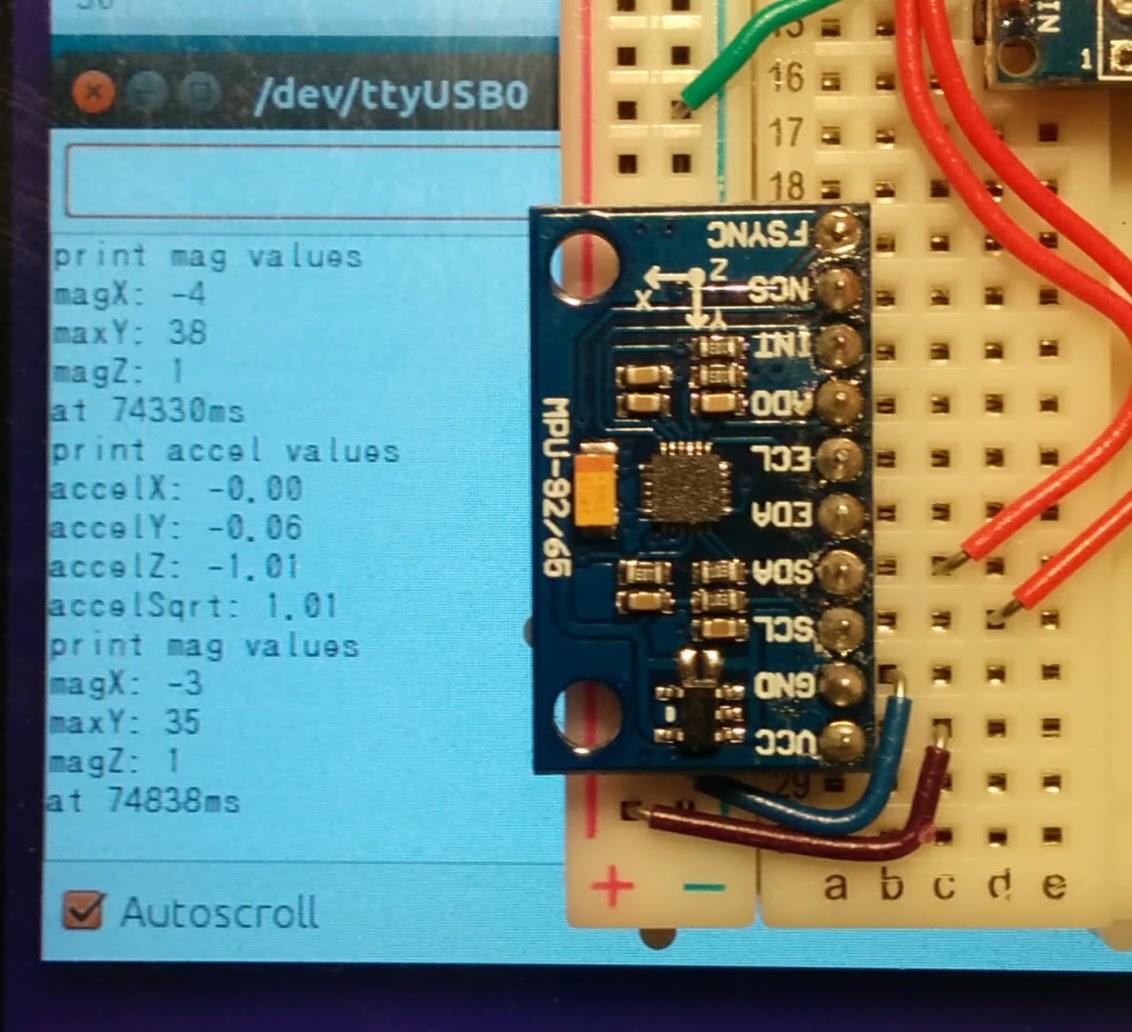 ArduinoでMPU9250(加速度センサ、磁気センサ)を使う方法