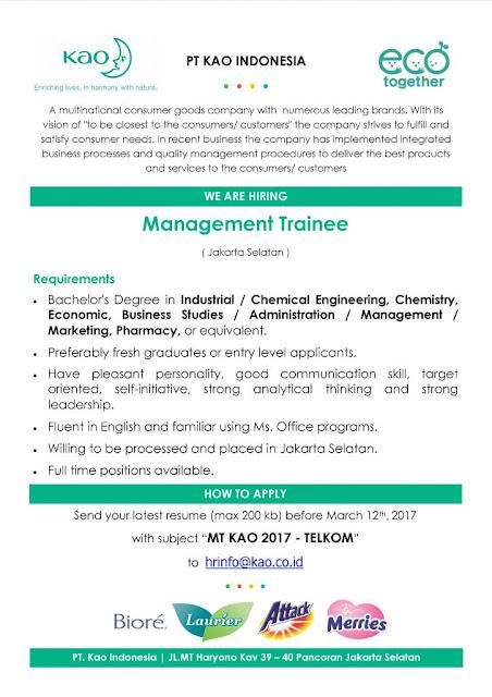 Lowongan Kerja Management Trainee PT. Kao Indonesia Maret 2017 (Fresh Graduate/ Experience)