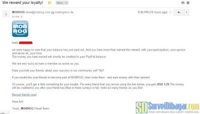 Konfirmasi dari situs paid survey Mobrog tentang proses redeem poin | SurveiDibayar.com