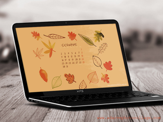 free october calendar wallpaper, autumn colors
