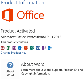 Office 2013 Activation Information